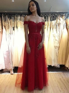 Stylish A-Line Off the Shoulder Dark Red Tulle Long Prom Dresses with Appliques,Evening Party Dresses