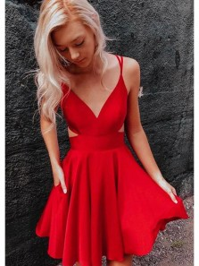Simple A-Line V Neck Open Back Red Short Prom Dresses with Pockets,Homecoming Dresses ,Evening Party Dresses