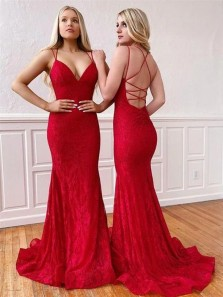 Glamorous Mermaid Low Cut Criss Cross Back Red Lace Prom Dresses with Train,Formal Evening Party Dresses