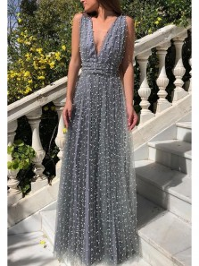 Charming A-Line Deep V Neck Backless Grey Tulle Long Prom Dresses with Pearls,Evening Party Dresses with Bow