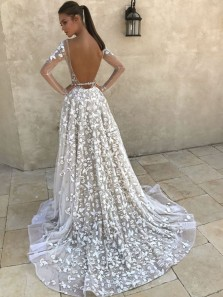 Glamorous A-Line Deep V Neck Long Sleeved Backless Ivory Lace Wedding Dresses,Bridal Gown 2020