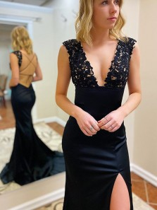 Gorgeous Mermaid V Neck Cross Back Black Satin Long Prom Dresses with Appliques Split,Formal Evening Party Dresses