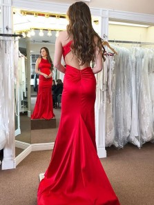 Simple Mermaid Round Neck Open Back Red Satin Long Prom Dresses with Train,Evening Party Dresses