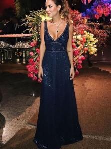 Sparkly A-Line V Neck Open Back Navy Blue Sequins Long Prom Dresses,Evening Party Dresses