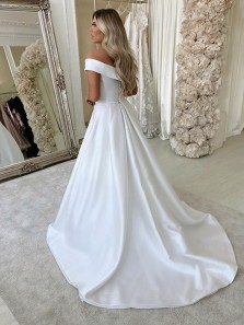 Simple A-Line Off the Shoulder White Satin Wedding Dresses,Cheap Bridal Gown