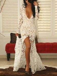 Sexy Mermaid Deep V Neck Long Sleeve Ivory Lace Wedding Dresses with Slit