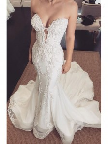Mermaid Sweetheart Strapless Lace Wedding Dresses