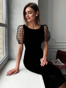 Vintage Round Neck Short Sleeves Black Tea Length Wedding Guest Dresses Evening Party Dresses