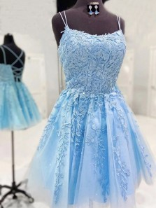 Pretty A-Line Scoop Neck Cross Back Sky Blue Lace Short Homecoming Dresses
