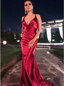 Sexy Mermaid V Neck Red Satin Long Prom Evening Dresses with Train
