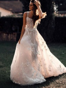 Gorgeous A-Line Square Neck Open Back Tulle Lace Wedding Dresses