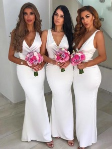 Simple Mermaid V Neck Open Back White Satin Long Bridesmaid Dresses