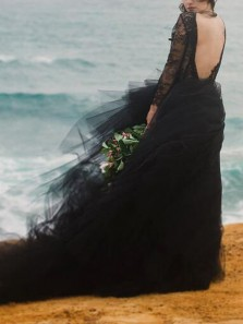 Elegant A-Line V Neck Long Sleeve Black Tulle Lace Wedding Dresses
