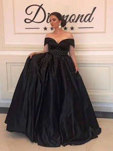 Charming A-Line Off the Shoulder Black Satin Wedding Gown,Elegant Evening Party Dresses