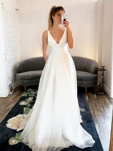 Elegant A-Line V Neck Open Back White Satin Tulle Long Wedding Dresses with Pockets,Simple Bridal Dresses