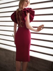 Chic Body con Square Neck Ruffle Sleeve Knee Length Cocktail Party Dress Wedding Guest Dress with Appliques