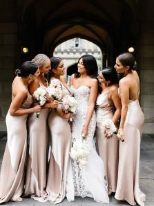 Sexy Mermaid Cowl Neck Spaghetti Straps Champagne Silk Satin Long Bridesmaid Dresses,Long Wedding Party Dresses