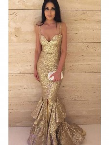 Golden Sequins Mermaid Prom Dresses,Strap Spaghetti Prom Dresses,Red Carpet Fashion Evening Dress