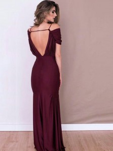 Elegant Mermaid Off the Shoulder Backless Burgundy Elastic Satin Long prom Dresses,Charming Evening Party Dresses