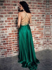 Simple A-Line Halter Cross Back Green Satin Long Prom Dresses with Pockets,Evening Party Dresses