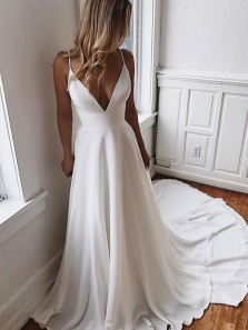 Gorgeous A-Line V Neck Spaghetti Straps Open Back White Satin Long Wedding Dresses with Lace