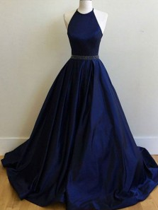 Simple A-Line Halter Open Back Navy Blue Satin Long Prom Dresses with Beaded,Evening Party Dresses
