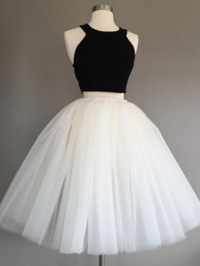 Cute A-Line Two Piece Black and White Tulle Short Homecoming Prom Dresses,Cocktail Party Dresses
