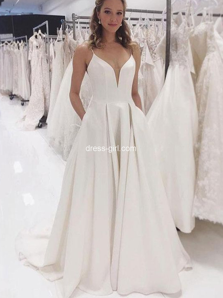 Simple A Line V Neck Open Back Ivory Satin Long Prom Dresses Simple Wedding Dresses With Pockets