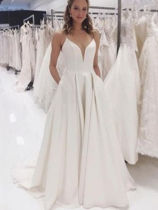 Simple A-Line V Neck Open Back Ivory Satin Long Prom Dresses,Simple Wedding Dresses with Pockets
