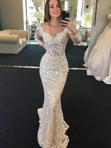 Marvelous Mermaid Boat Neck Long Sleeves Lace Wedding Dresses