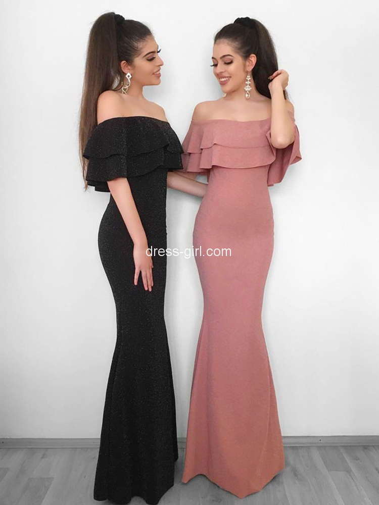 b3f2db0d81b6 Elegant Mermaid Off the Shoulder Open Back Blush Elastic Satin Long Prom  Dresses with Ruffle,Simple Formal Dresses