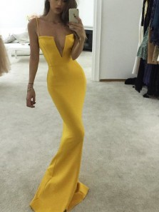 Chic Mermaid V Neck Spaghetti Straps Open Back Yellow Satin Long Prom Dresses,Formal Party Dresses
