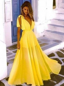 Charming A-Line Deep V Neck Open Back Yellow Chiffon Long Prom Dresses,Summer Beach Long Dresses