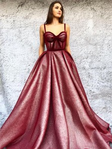 Sparkly Ball Gown Sweetheart Spaghetti Straps Open Back Burgundy Sequins Long Prom Dresses with Pockets,Formal Party Dresses