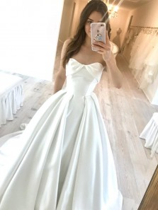 Princess Sweetheart Open Back Ivory Satin Long Wedding Dresses,Bridal Gown