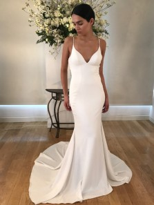 Simple Mermaid Spaghetti Straps Backless White Satin Long Wedding Dresses,Evening Party Dresses