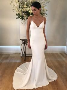 Simple Mermaid Spaghetti Straps Backless White Satin Long Wedding Dresses,Evening Party Dresses