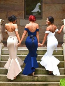 Mermaid Off the Shoulder Open Back Navy Satin Long Bridesmaid Dresses