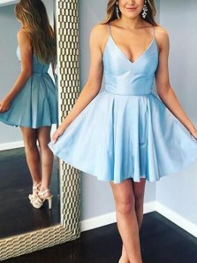 Simple A-Line V Neck Spaghetti Straps Blue Satin Short Homecoming Dresses Under 100,Back to School Dresses 190725002