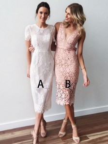 Elegant V Neck Open Back Blush Lace Tea Length Wedding Guest Dresses,Short Bridesmaid Dresses