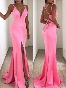 Mermaid V Neck Cross Back Hot Pink Satin Long Prom Dresses with Split,Evening Party Dresses