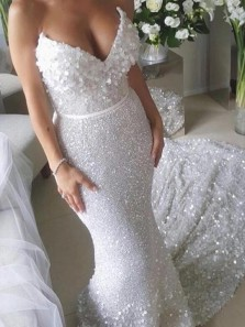 Mermaid V Neck Strapless Open Back White Sequins Long Wedding Dresses with Train