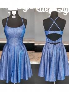 Unique A-Line Scoop Neck Cross Back Blue Satin Short Prom Dresses,Homecoming Dresses,Back to School Dresses