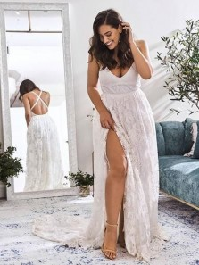 Stunning A-Line V Neck Cross Back White Lace Beach Wedding Dresses with High Slit