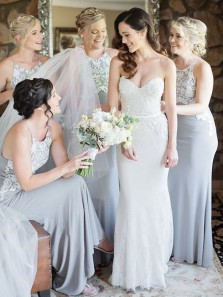 Mermaid Halter Backless Grey Elastic Satin Floor Length Bridesmaid Dresses with Appliques