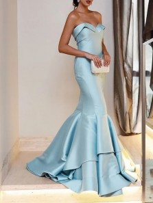 Gorgeous Mermaid Sweetheart Open Back Blue Satin Long Prom Dresses,Special Occasion Dresses