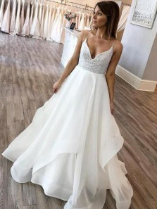 Modest A-Line V Neck Spaghetti Straps Open Back White Organza Lace Wedding Dresses