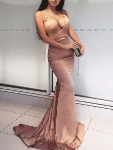 Sexy Mermaid V Neck Spaghetti Straps Open Back Brown Silk Satin Long Prom Dresses,Evening Party Dresses