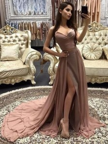 Charming A-Line Spaghetti Straps Open Back Champagne Chiffon Long Prom Dresses,Evening Party Dresses