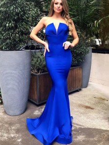 Unique Mermaid V Neck Strapless Open Back Royal Blue Satin Long Prom Dresses,Formal Party dresses